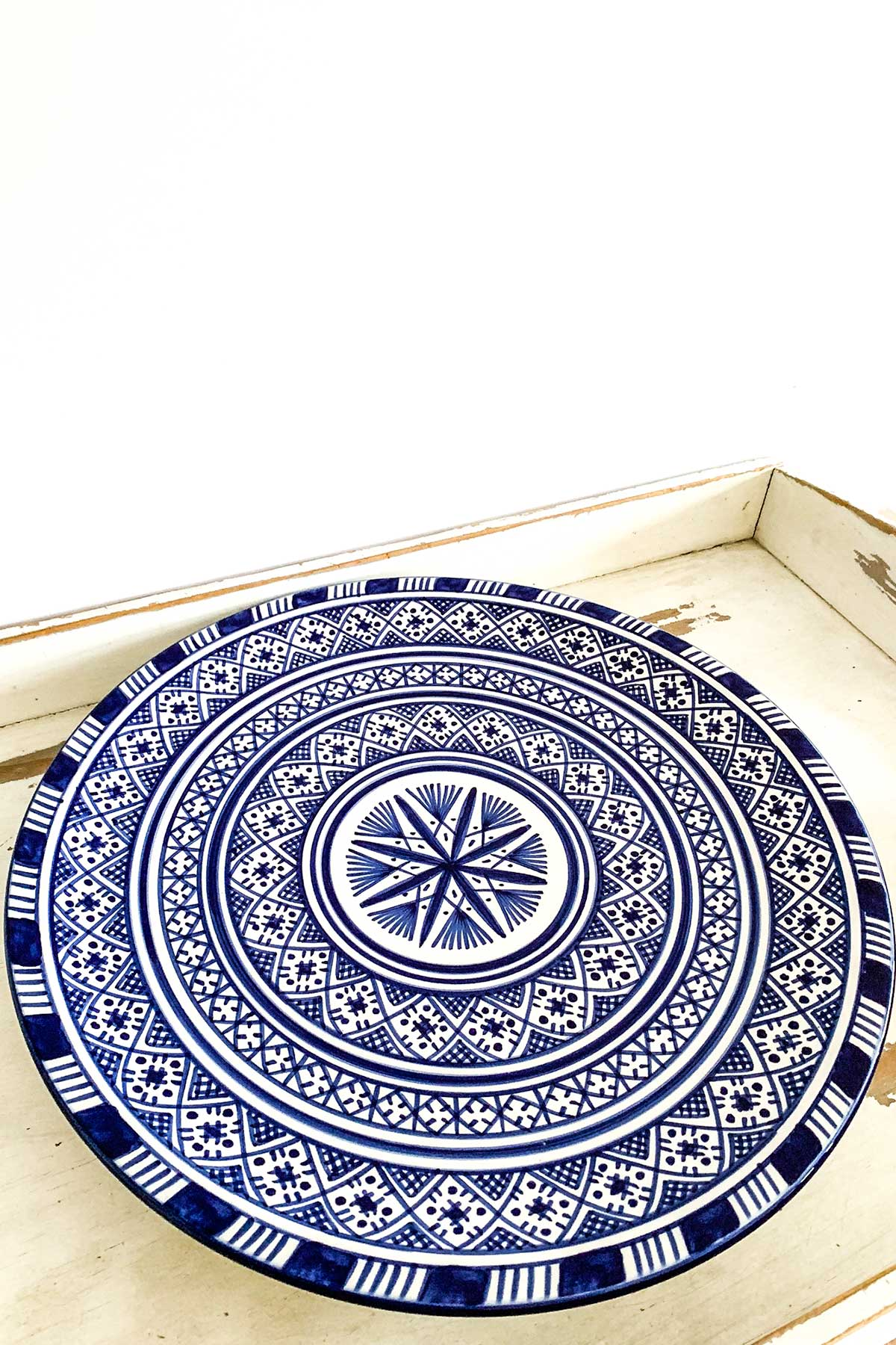 Original marokkanische Keramik-Platte Noura aus Ton - handbemalt