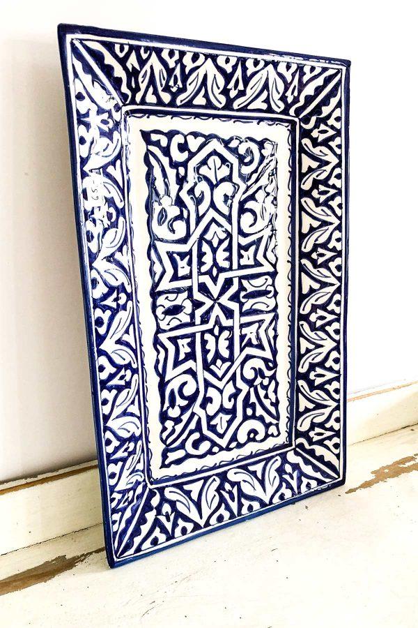 Original marokkanische Keramik-Platte Rania aus Ton - handbemalt