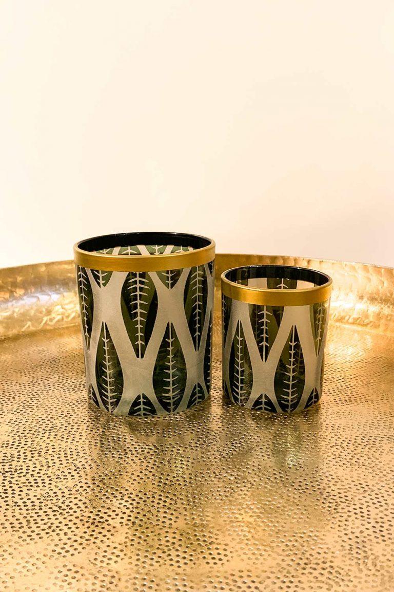 Teelichthalter-Set Green Leaves Var. 2