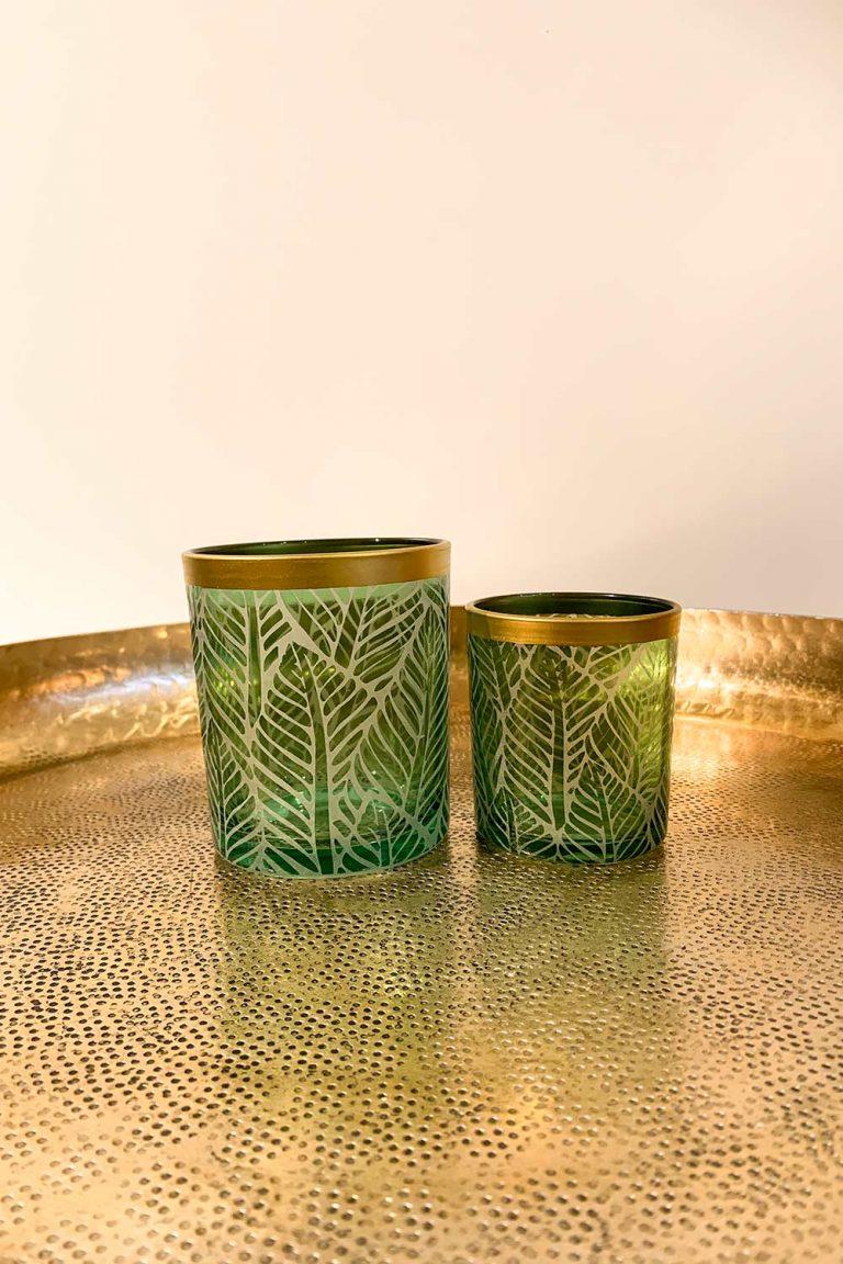 Teelichthalter-Set Green Leaves Var. 1