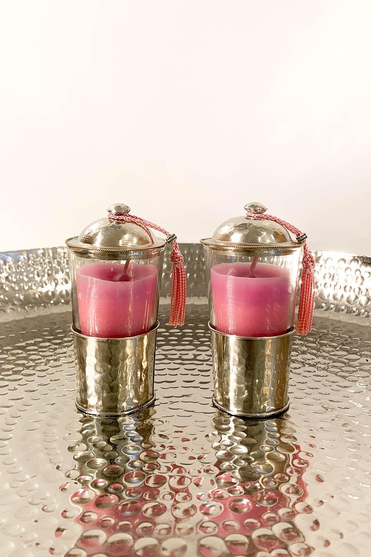 Kerze Amira im Teeglas - rosa