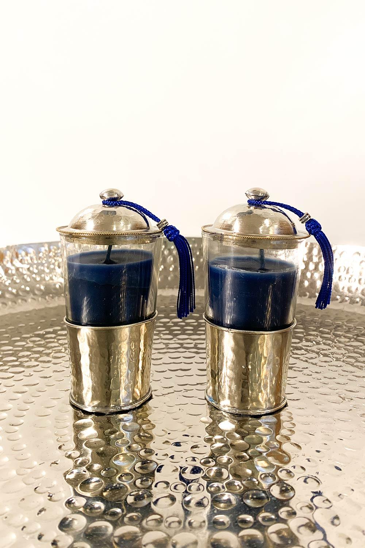 Kerze Amira im Teeglas - blau