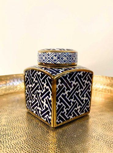 Orientalische würfelförmige Dose Orienta aus Porzellan